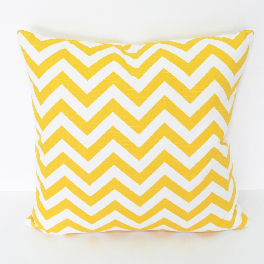 chevron yellow and white pillow
