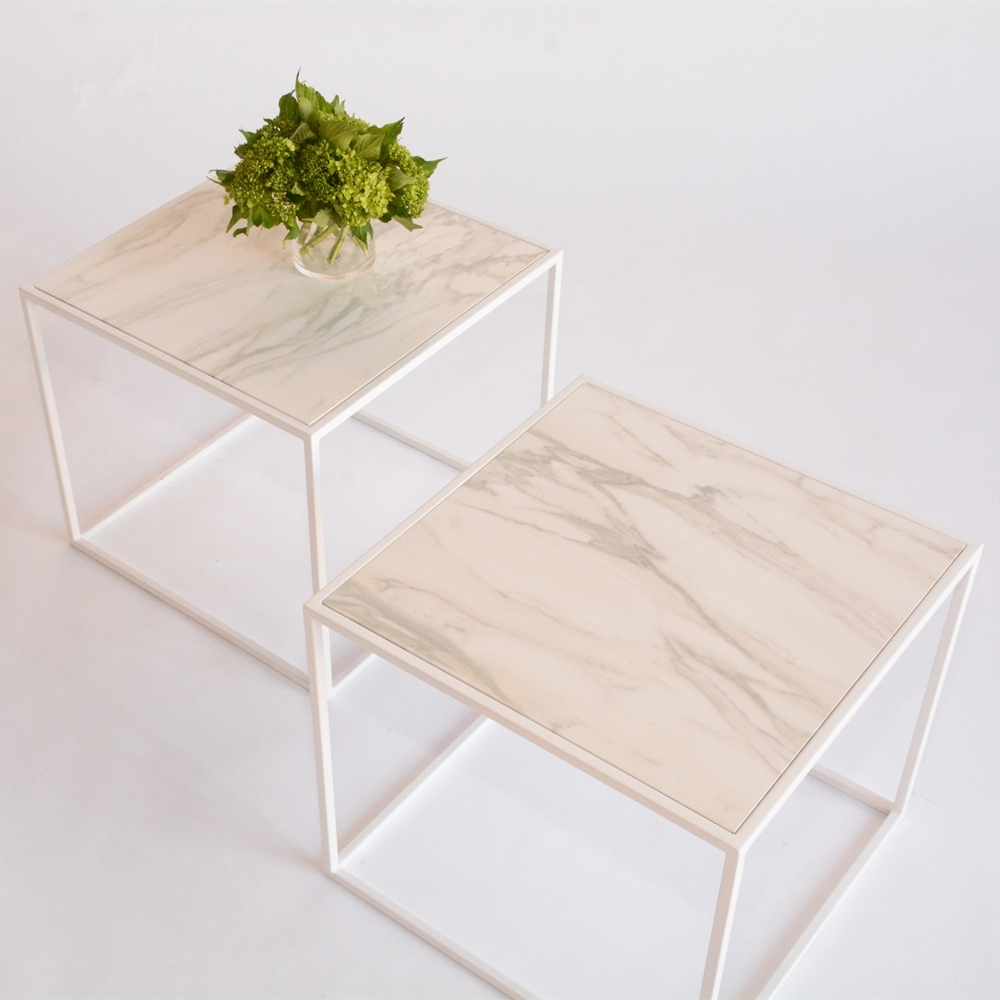 Delightful Calvin Side Table Faux Marble White | Furniture Rentals For Special Events    Taylor Creative Inc.