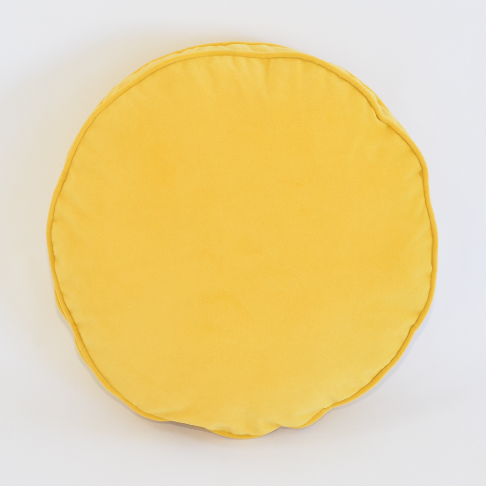 lemon velvet round pillow