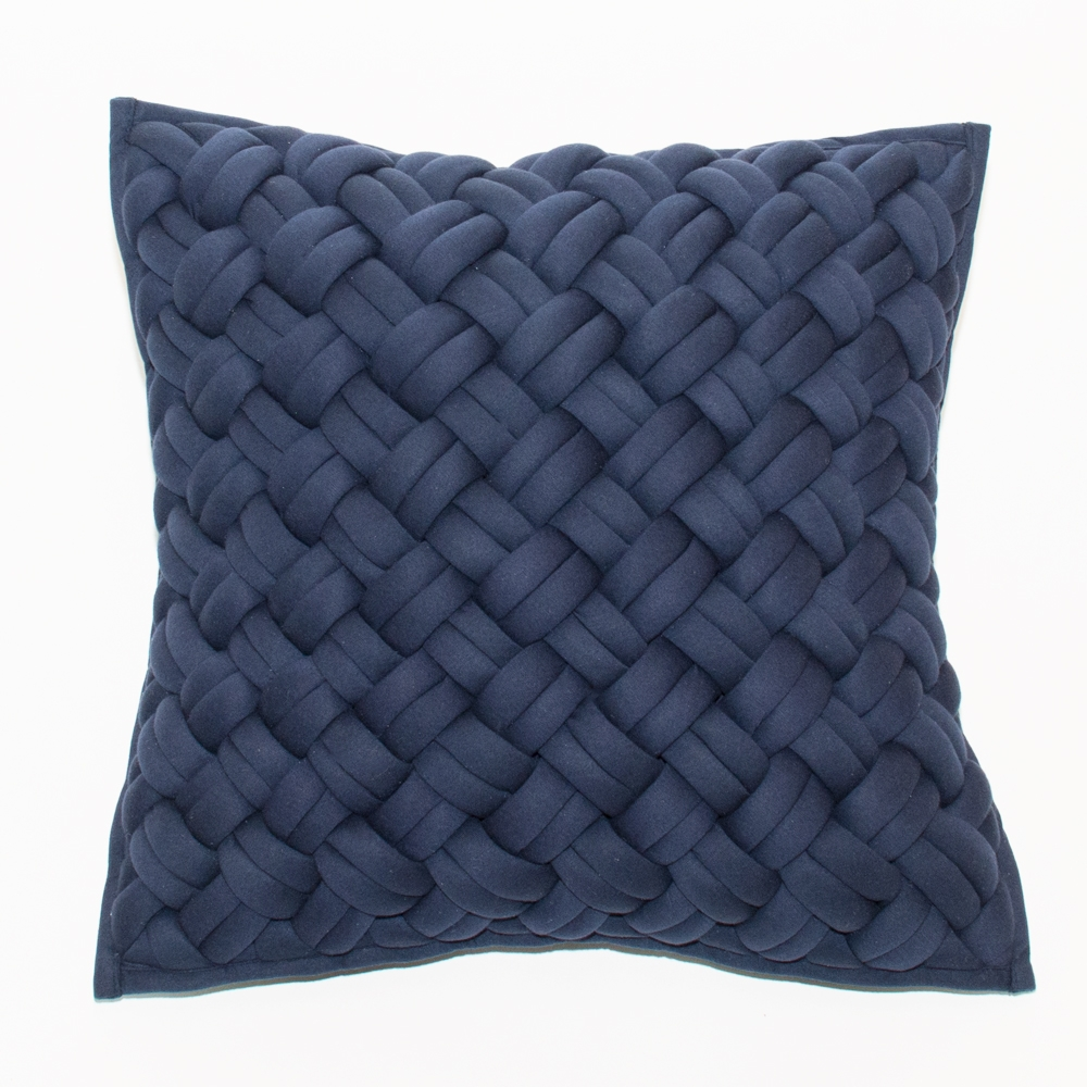 interlock pillow blue