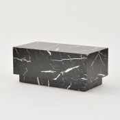 plinth table faux black marble