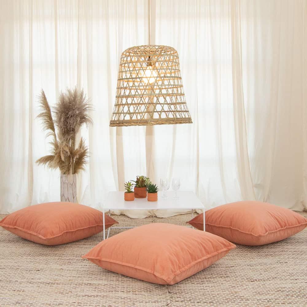 papaya velvet floor cushion