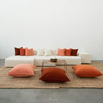 Additional image for papaya velvet floor cushion