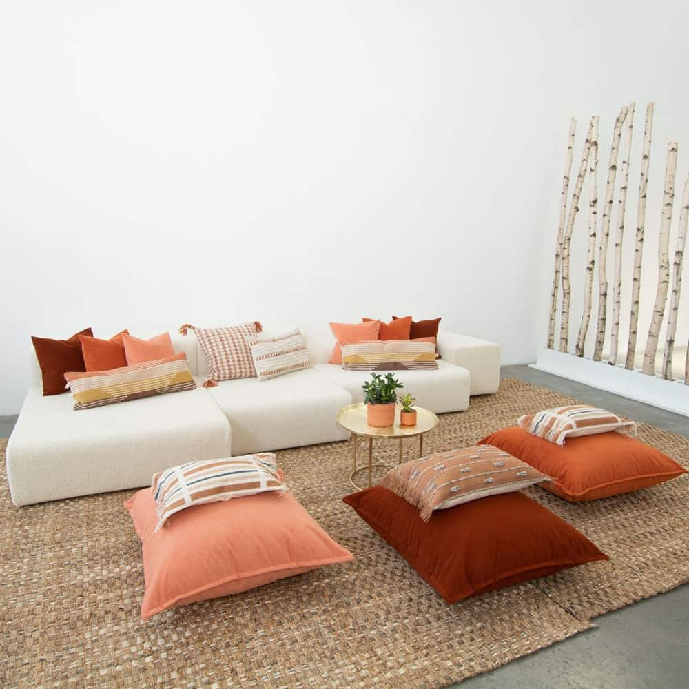 Additional image for burnt orange velvet floor cushion