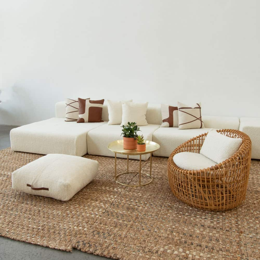 Additional image for cane chair faux sheepskin