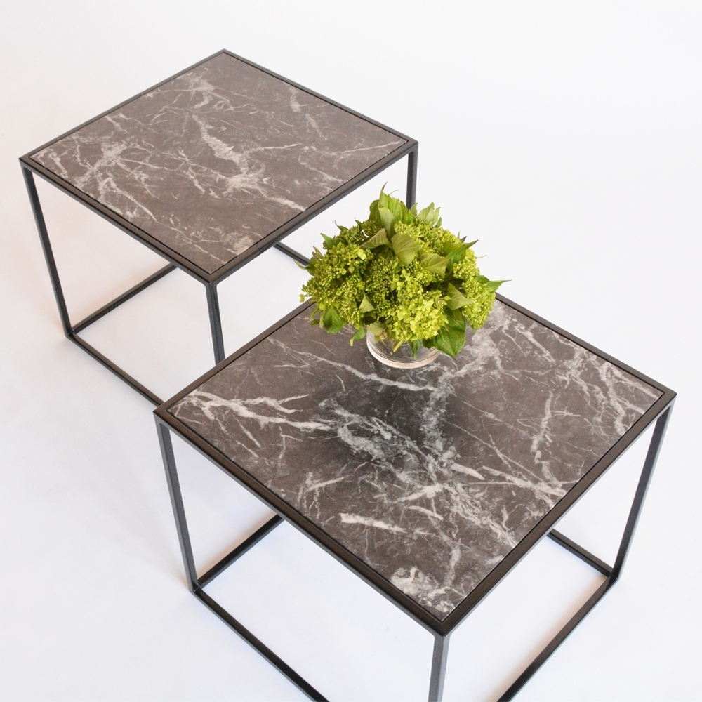 calvin side table faux marble black